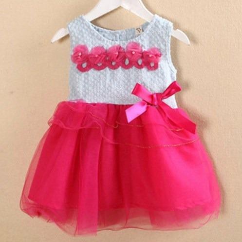 Vestido De Fiesta Flores Con Tul Bebe Niña 2 Años Nuevo