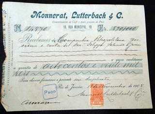 Nota Fiscal Antiga Monnerat,lutterbach 1908 Rio De Janeiro