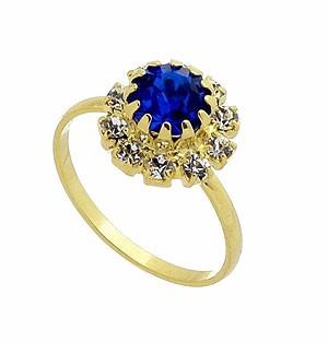 Anel Folheado A Ouro C/ Strass Azul Safira Rodeado Por Pedra