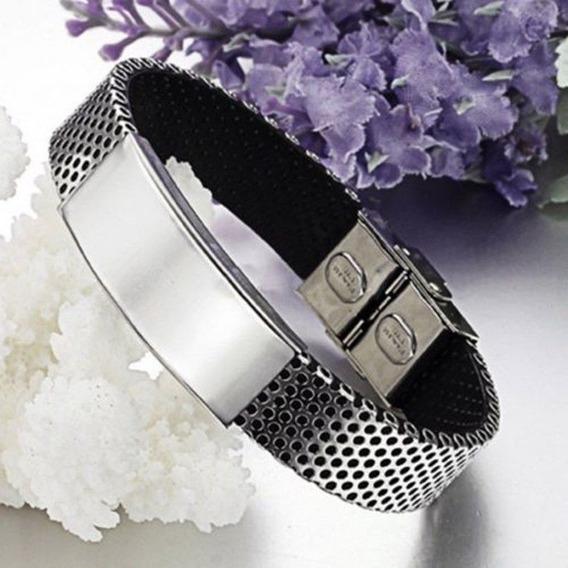 Bracelete Masculino (pulseira Aço E Couro) Frete Grátis