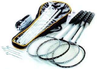 Kit Badminton 4 Raquetes Suporte Rede
