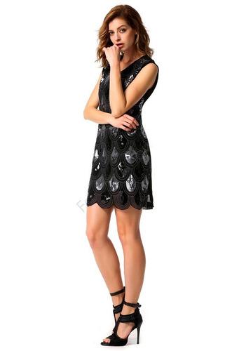 Exclusivo Vestido Negro Con Lentejuelas Talla M Importado