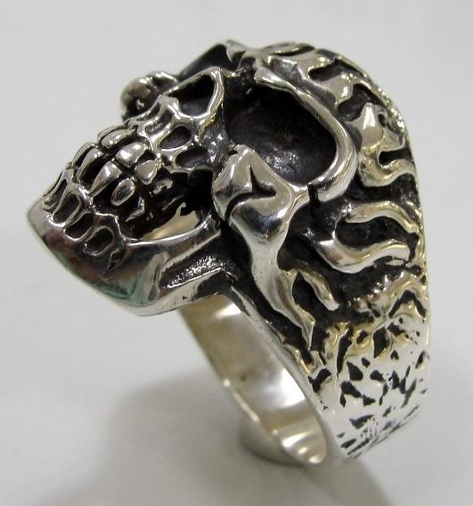 Anel Prata 950 De Lei Cranio Caveira Skull Esqueleto Veias