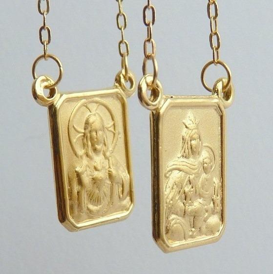 Escapulário De Ouro 18k Com Jesus E Mãe De Jesus 1024.