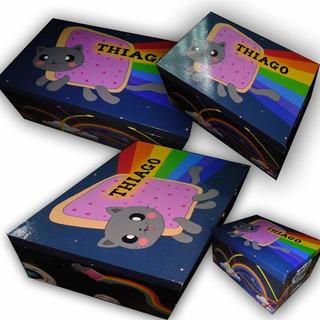 Nyan Cat Cofre De Madera Personalizado (34x20x10)