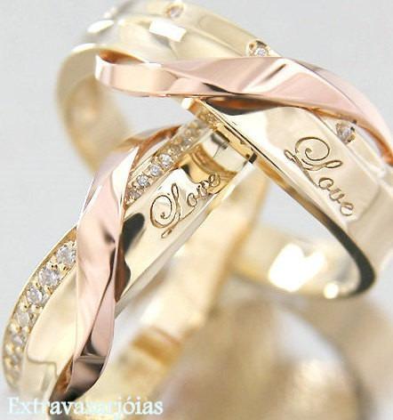 Par De Aliança Love Ouro Amarelo Rosê 18k/750 E Diamantes.