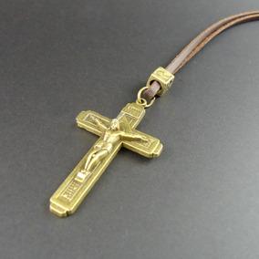 Colar Cordão Cruz Crucifixo Jesus Couro Masculino E Feminino