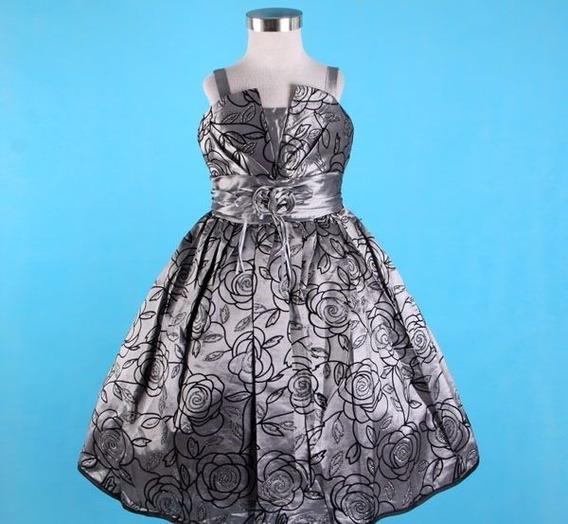 Vestido Infantil Tafetá Com Rosas Princesa Festa Tam 6