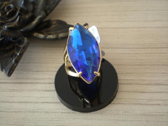 Anel Pedra Azul Aro 17 Banhado A Ouro