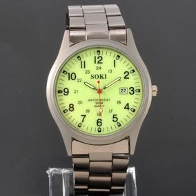 Relógio Quartz Em Aço Inox Mostrador Fluorescente Fr. Grátis