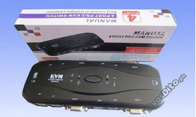 Chaveador Kvm Switch 4 Portas Vga E Ps2 Para 4 Cpu