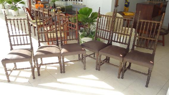 Conjunto Com 6 Cadeiras Antigas Ricamente Torneadas