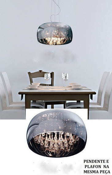 Pendente De Vidro Cromado Para Mesa De Jantar + Brinde