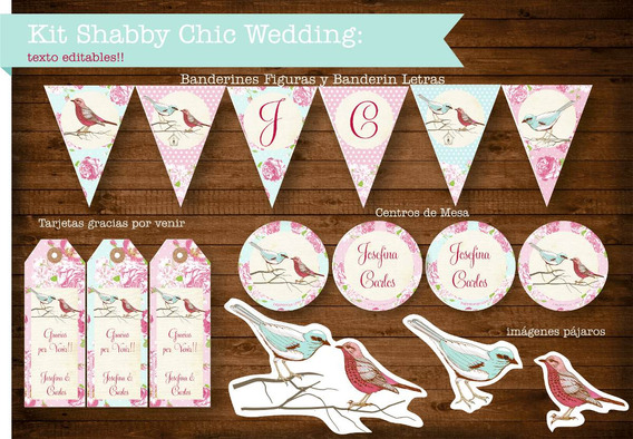 Kit Imprimible Shabby Chic Casamiento