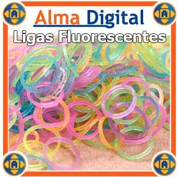 Kit 200 Ligas 8 Ganchos 1 Aguja Brazaletes Pulseras Fluoresc