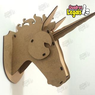 Cabeça Unicórnio Mdf Cru Alce Troféu Parede Cabeça Puzzle3d