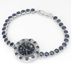 Relógio De Prata 925 E Safiras Naturais