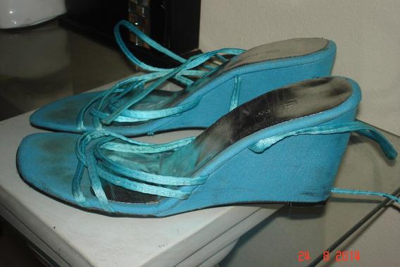 Zapatos Sandalias Taco Chino Tiras Turquesa Mujer T 39