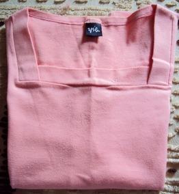 006 Rps- Roupa Blusa Camiseta Moda Atual- Rosa- Malha