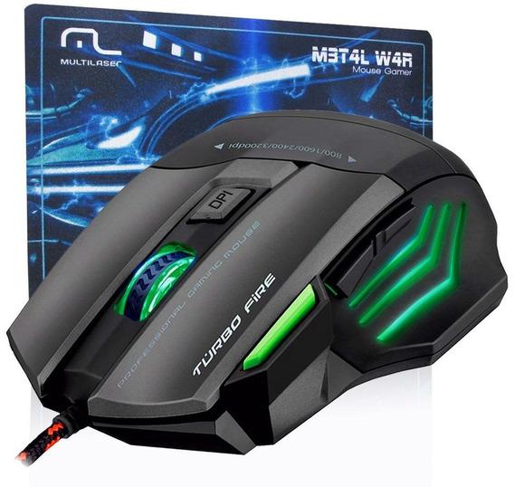 Mouse Profissional Warrior 7 Botões 3200 Dpi Preto Usb