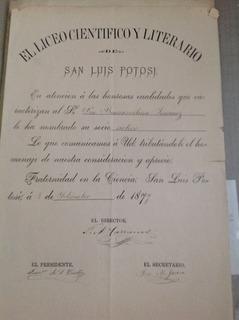 Documento Antiguo. Liceo Científico San Luis P.