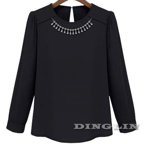 Blusa Con Collar De Cristales Talla M Nuevo Con Etiqueta