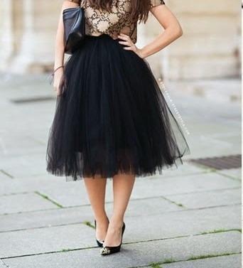 Saia Midi Tule Média Bailarina Fashion Ano 50 Moda Tendencia