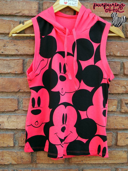 Remera Mickey Mouse Disney Mujer Raton Capucha Musculosa