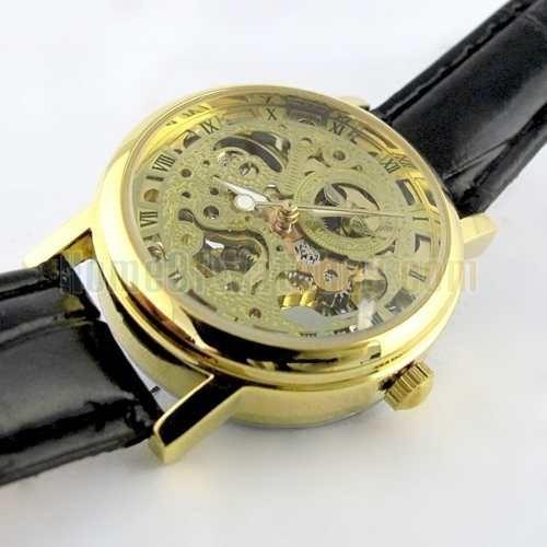 Relógio Semi Automático - Luxo - Skeleton Dourado