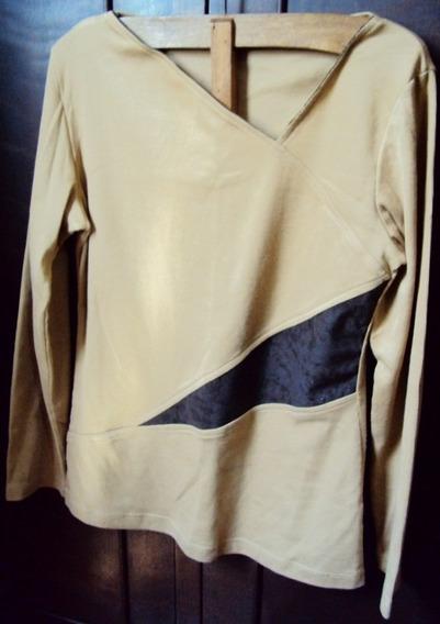 005 Rps- Roupa Blusa Camiseta Moda Atual- Bege- Malha