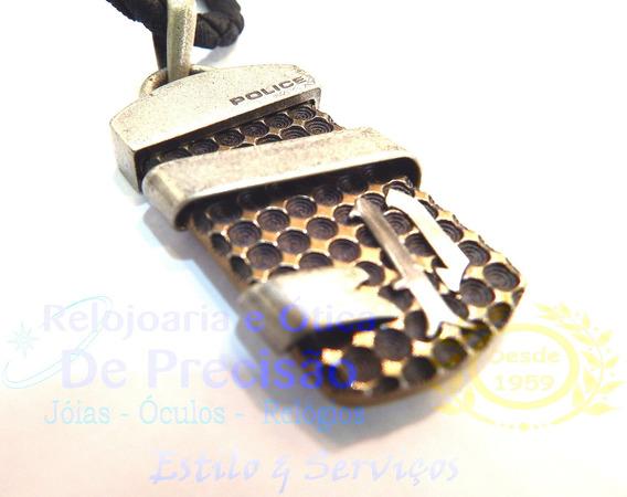 Colar Police Crest Em Aço E Couro Pj22422ple/02