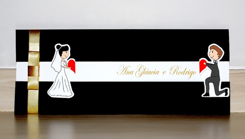 Imagem 1 de 5 de Convites De Casamento - Encontro Black - 50 Unidades