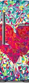 Adesivo Geladeira Coração Em Retalho # 03 (porta Duplex)
