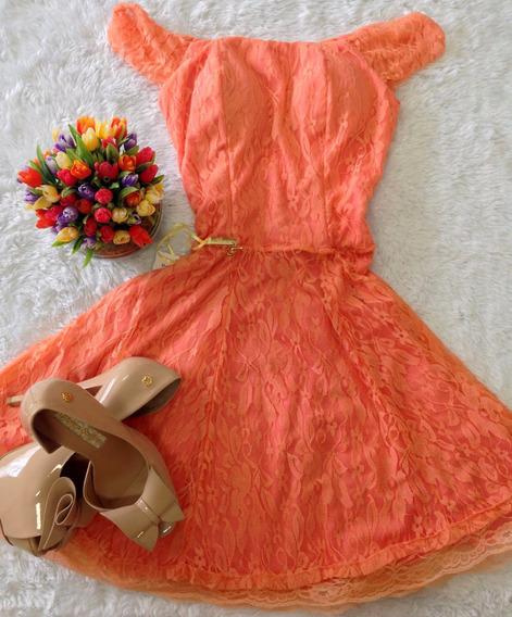 Vestido Coral Boneca E, Renda Tam 38