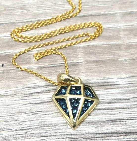 Gargantilha Dourada Modelo Diamante Vazado Com Cristais