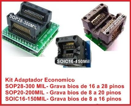 Kit Adaptador Ecnomico Sop28 Soic8 A 16 Soic8 A 20 Universal