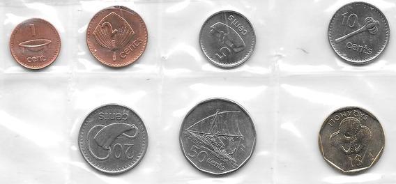 Serie De 7 Monedas De Fiji Año 2001 A 2010 Sin Circular