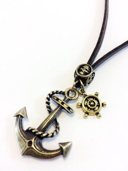 Colar Couro Pirata Ancora Nautico Naval Marinheiro Masculino