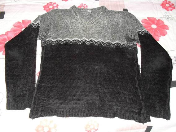 Buzo Sweater Chenille Gris Y Negro Dama- Talle M