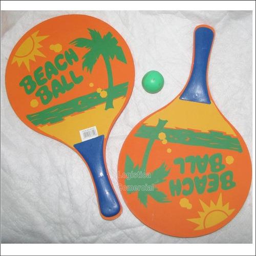 Set (4) Raqueta Para Playa + Pelota Para Niños Adultos Juego