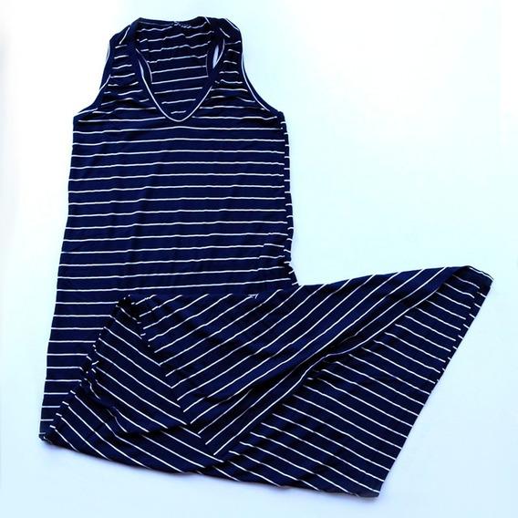 Vestido Listrado Longo Fenda Lateral Frete Grátis 172