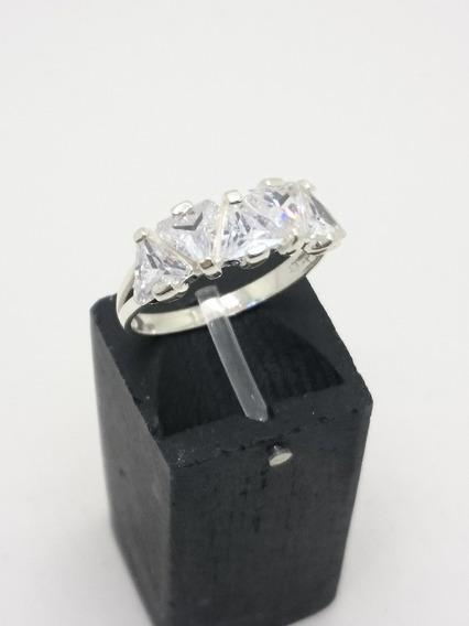 Anel Aparador Zircônias Triangulares Prata 925