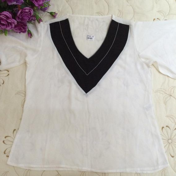 Blusa Seda Branca E Preta