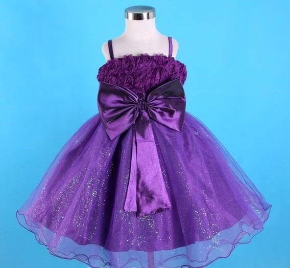 Vestido Infantil Festa Florista Roxo