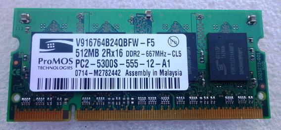 Memoria Ddr2 Notebook 512 Mb 667 Promos 2rx16 Pc2-pc5300s-55