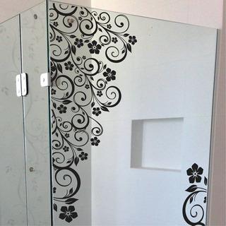 Adesivo Box Banheiro Floral Parede Blindex