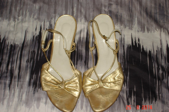 Zapatos Mujer Hermosos Taco Chino Madera Cuero Dorado 39