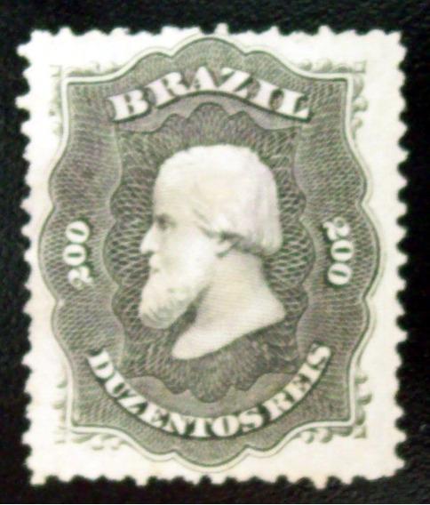 Brasil, Sello Yv. 28 200r Negro Pap Blanco 1866 Nuevo L6592