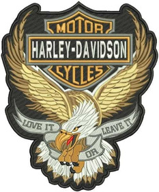 Patch Bordado Hd010 Aguia Harley Davidson Grande Costas