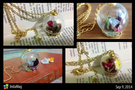 Colar/brinco Globo De Vidro / Flores Desidratadas,conchas